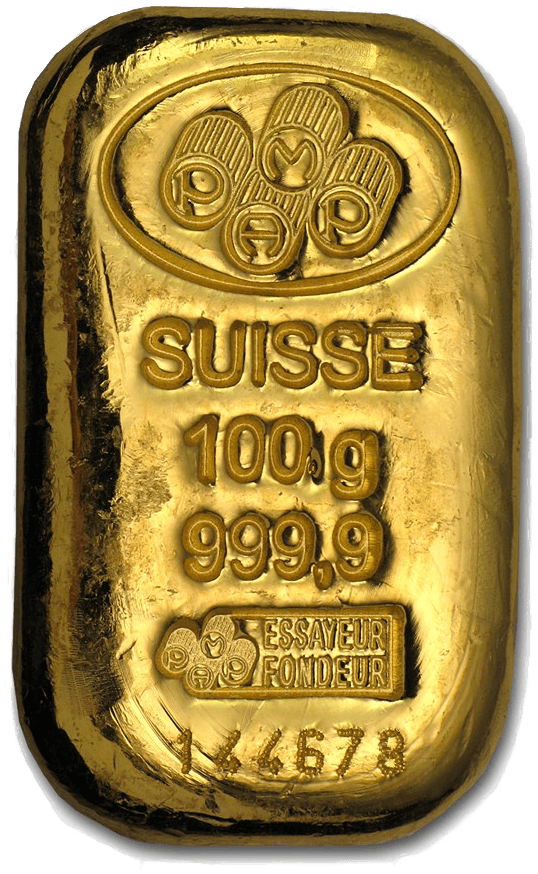 100 gram gold bars Pamp Suisse Cast 9999