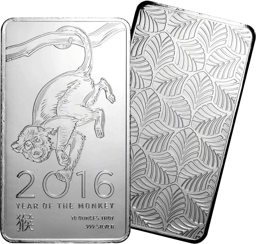 Elemetal Direct 10oz Silver Bar 2016 - Lunar Year of the Monkey