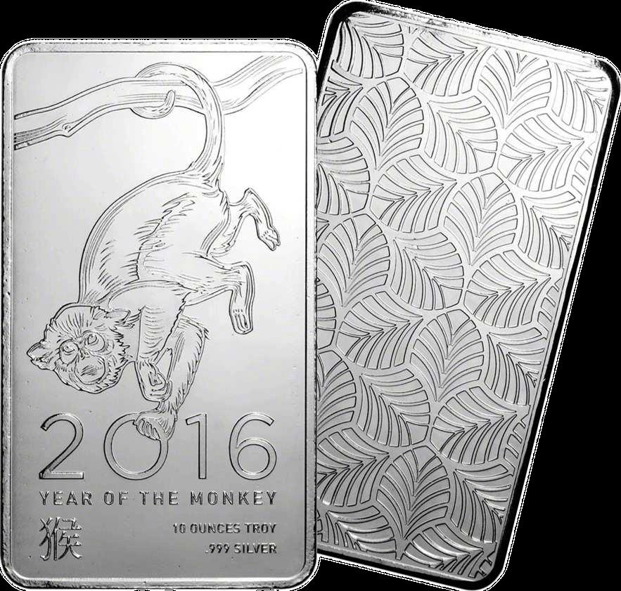 Elemetal Direct 10oz Silver Bar 2016 - Lunar Year of the Monkey