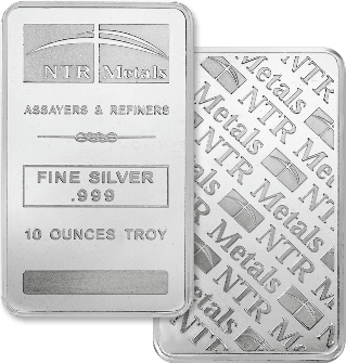 NTR Metals 10oz Silver Bar - Minted up to 2014