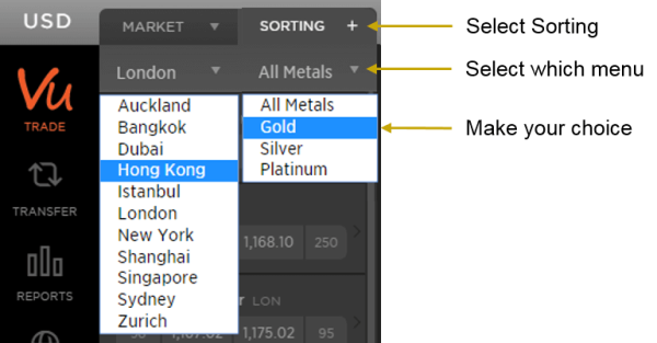 How to Sort Markets and Metal on ABX Allocated Bullion Exchange's MetalDesk