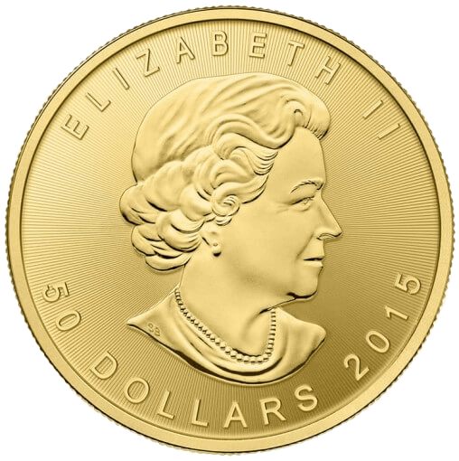 Obverse of 1oz Canadian Maple Leaf Gold Coin