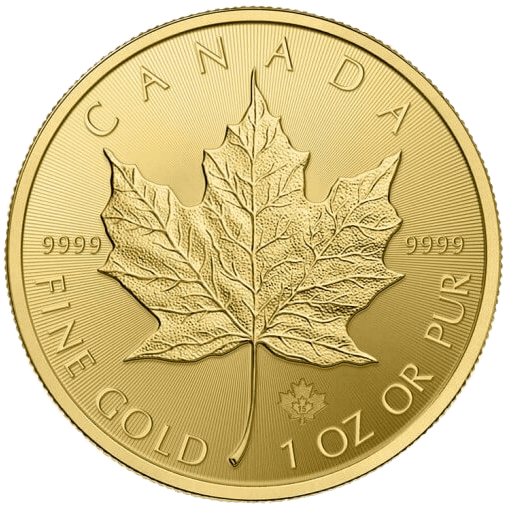 Reverse of the 1oz Canadian Maple Leaf Gold Coin