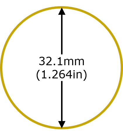 Size Diameter 1oz Australian Kangaroo Gold Coin