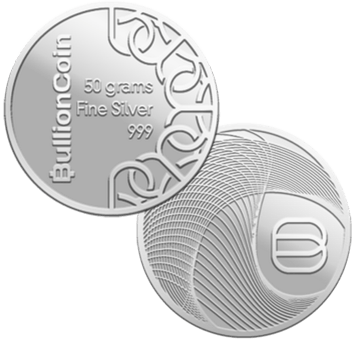 Front and back of a silver 50 gram BullionCoin