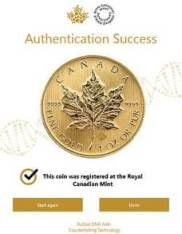 Canadian Maple Leaf Silver Coin Bullion DNA Verification